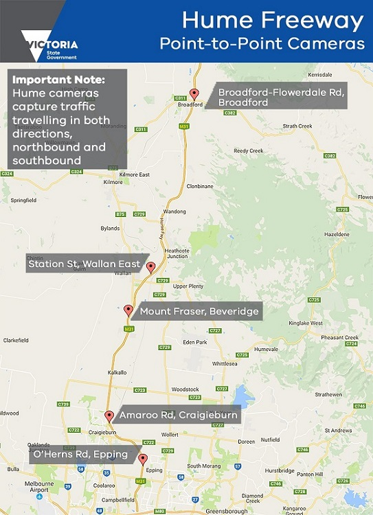 Map showing Hume Freeway point-to-point cameras